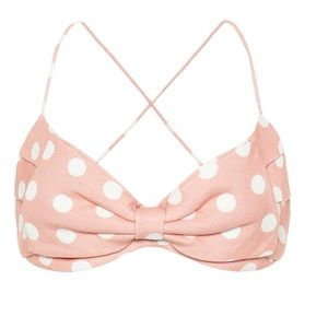 Zimmerman polka dotted linen bustier bow top